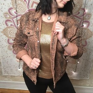 Free People Snake Print Trucker Jacket NWOT
